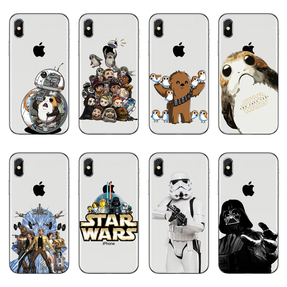 For <font><b>iPhone</b></font> X 5.8 Luxury fashion Soft TPU <font><b>Star</b></font> <font><b>Wars</b></font> Phone <font><b>Case</b></font> For <font><b>iPhone</b></font> 5S SE 6 6S Plus <font><b>7</b></font> <font><b>7</b></font> Plus 8 8 Plus Clear Silicone Cover image