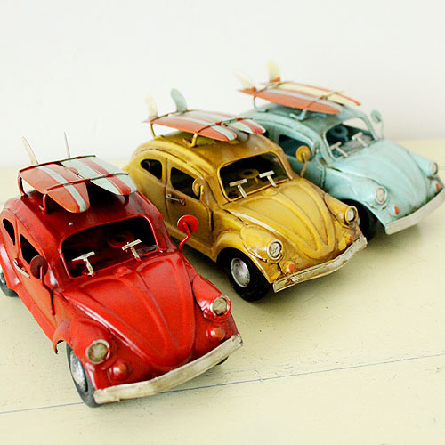1:32 Sheet metal Car model Beetle surfboard toys for children car-styling Handmade