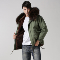 2017 Short Style plus size real collar mens parka,deep brown faux fur lining fashion coat,mens winter coffee casual outwear