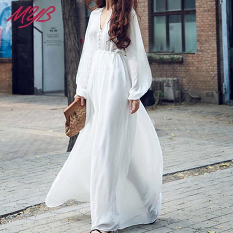 Beach long sleeve chiffon dress