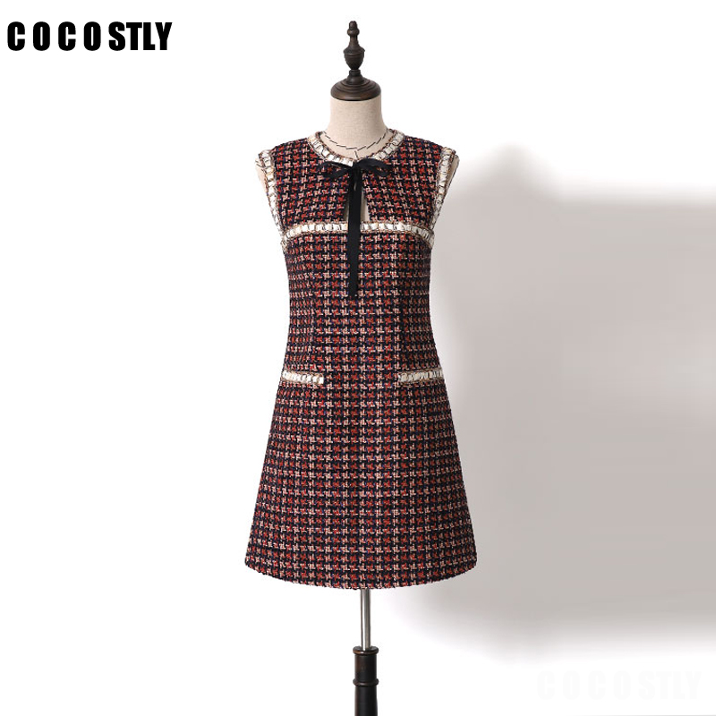 2019 New Autumn Fashion Designer Runway Dress Women Sleeveless Bow Wine Red Colors Tweed Dress Robe Femme