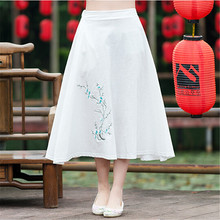 Cotton Linen Floral Embroidered A Linen Big Swing Literature Chinese Style Vintage Mid-calf Skirt For women,saia,jupe TT1155