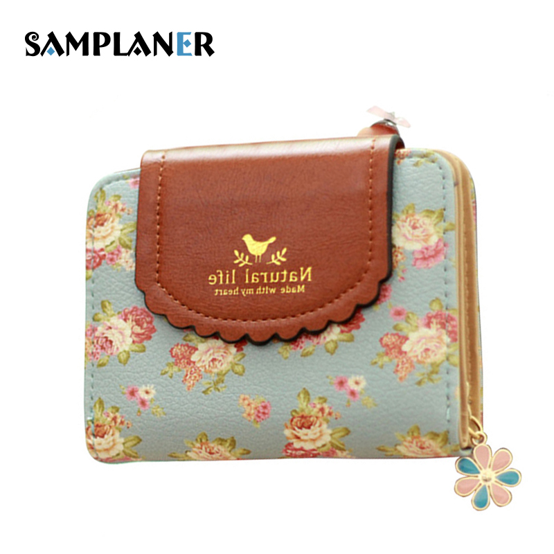 Samplaner Floral Print Short Wallet for Girls Lace Coin Purse Women Small Wallet Sweet Lady Change Purse Hasp Zip Mini Carteira girls print purse
