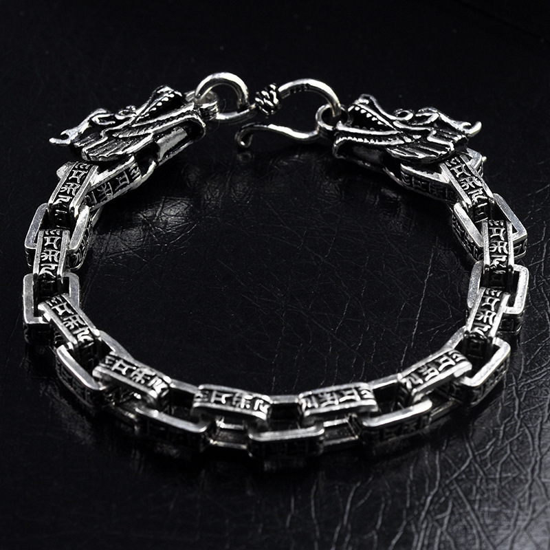 Real 925 Sterling Silver Men Bracelets Vintage Double Dragon Head Six Words' Mantra Thai Silver Bangle Fashion Father's Day Gift 925 sterling silver mens bracelets 2017 dragon head vintage thai punk fashion jewellery for man