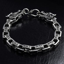Real 925 Sterling Silver Men Bracelets Vintage Double Dragon Head Six Words' Mantra Thai Silver Bangle Fashion Father's Day Gift(China)
