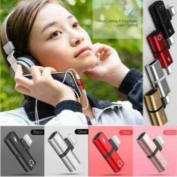 Headset Converter 2 in 1  Dual Port Metal Splitter 3.5mm Audio Jack Headphone Audio Charging Adapter for iphone