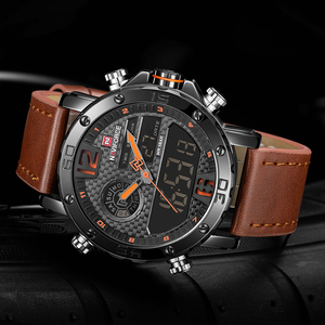 Image 5 - NAVIFORCE Watch Men NF9134 wojskowe sportowe kwarcowe zegarki męskie skórzane LED wodoodporny cyfrowy męski zegar zestaw na sprzedaż z pudełkiem