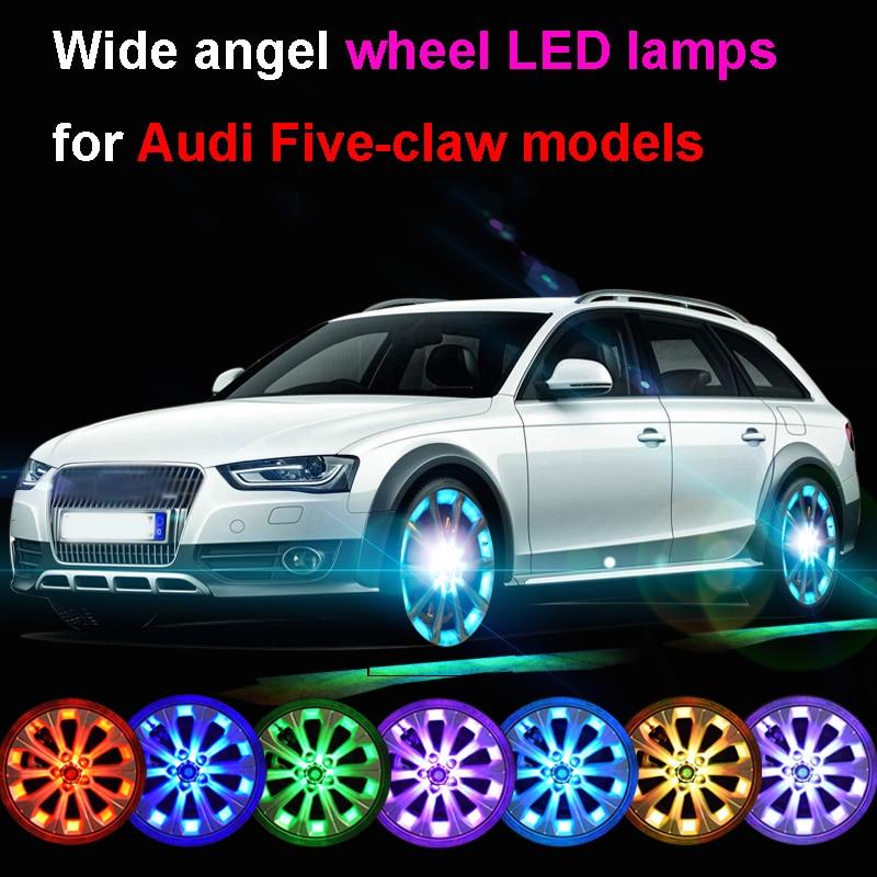 где купить 10/24LEDS 7Colors Flash Solar Light RGB LED Lamp Car Styling Refitting Wheel Hub Cap Rim Cool Replacement for Audi 5-claw Models по лучшей цене