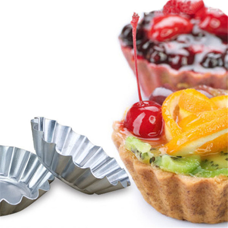 Image 5 - 20Pcs/LOT Egg Tart Aluminum Cupcake Cake Cookie Mold Pudding Mould Tin Baking Tool P0.21-in Cake Molds from Home & Garden
