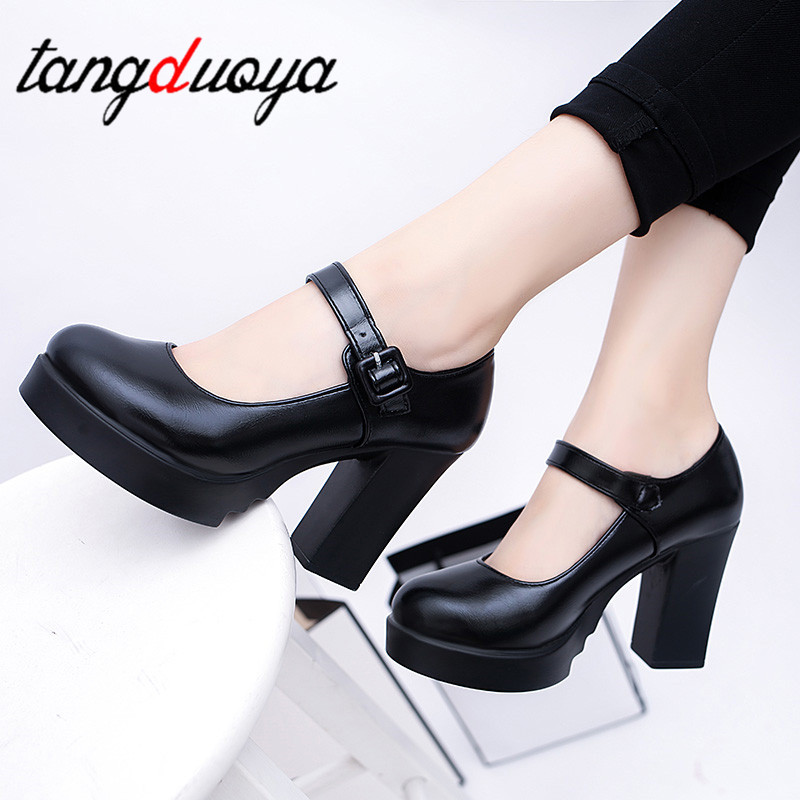 Square High Heels Women Platform Pumps Spring Summer Shallow Mouth Buckle Strap Shoes Round Toe Shoes for Women high heels