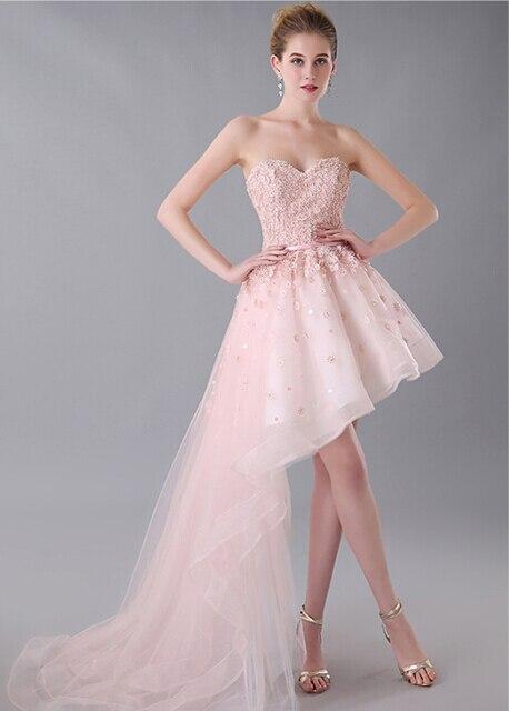 f9bc0b867 Asimétrico rosa vestido de fiesta apliques largo lateral corto adolescentes  tul vestido de graduación Semi Formal en Vestidos de fiesta de Bodas y  eventos ...