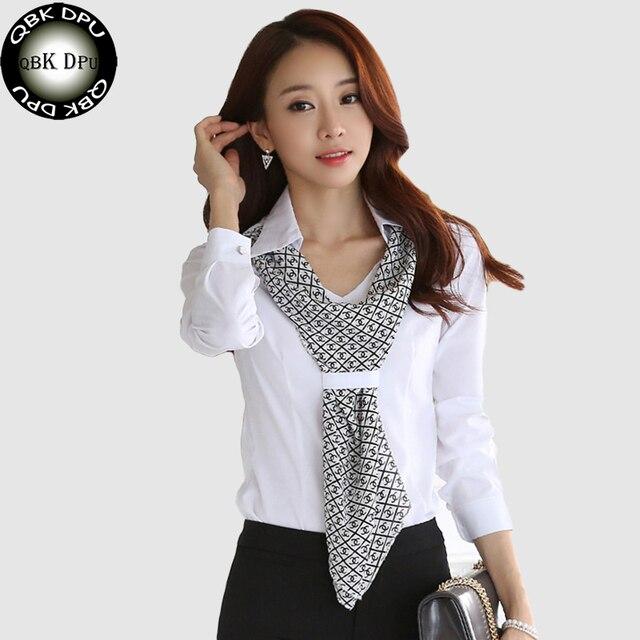 QBK ППН брендов Бизнес наряд высокого качества новые модные женские рубашки Slim Формальные шарф воротник офис сорочка и женская блузка