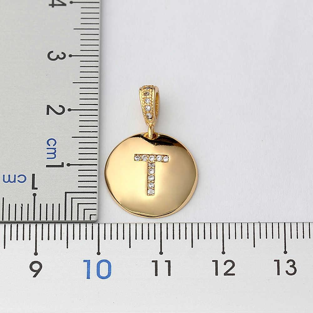 トップ品質の女性の女の子頭文字ネックレスゴールド 26 文字チャームネックレスペンダント銅 CZ 宝石パーソナライズされたネックレス