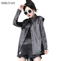 SHILO GO Leather Vest Womens Summer Fashion sheepskin genuine Vest lapel collar single breasted casual black loose Vest