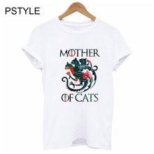 Mother of Cats Vogue T-shirts for Women Harajuku Summer Short Sleeve White Tees shirt Flower Dracarys Print Basic Graphic Tops