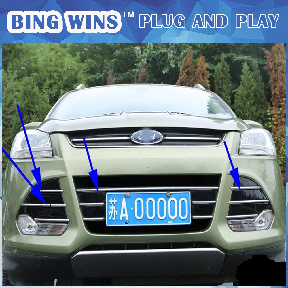Car-styling For Ford Kuga 2013-2015 ABS Chrome Car Front Gille Trim covers Grille fog light Decoration Cover Trims Accessories car styling abs headlight switch button sequins dedicated interior chrome trim cover for subaru outback 2015 trim decoration