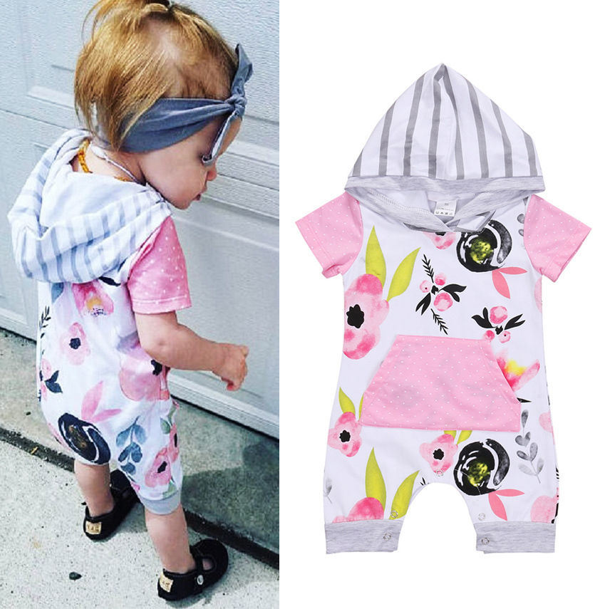Floral Newborn Baby Girls Short Sleeve Hooded Romper baby girl clothes bodysuit Playsuit Clothes