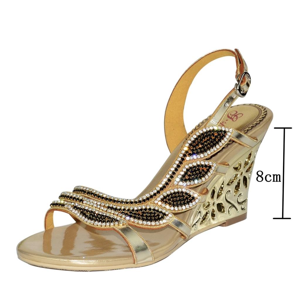 Haute Thin Qualité Wedges Partie Robe De Femmes Chaussures En Wedges Strass green Véritable Soirée Mariage golden golden Green Heels Sandales Cuir Heels Mode wOqTXB7X