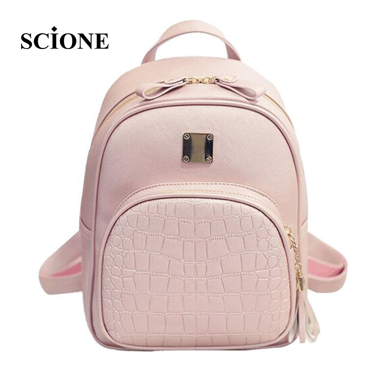 New Fashion Women Crocodile Pattern Small Backpack PU Leather Embossed Leisure Shoulder Bags For Teenager Girls