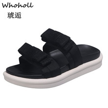 Whoholl Brand Summer Women Sandals Slip-on Design Black White Platform Comfortable Thick Sole Beach Shoes 5-7.5