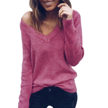 Fashion Autumn Elegant V Neck Sweater Womens Long Sleeve Spring Pullovers Ladies Sexy Backless Loose Sweaters Tops Sueter Mujer(China)