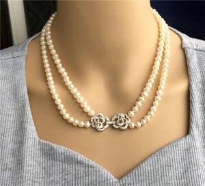 Image 3 - Ręcznie tkane 45 50 cm naturalne 7 7.5mm białe słodkowodne perły podwójny naszyjnik moda biżuteria