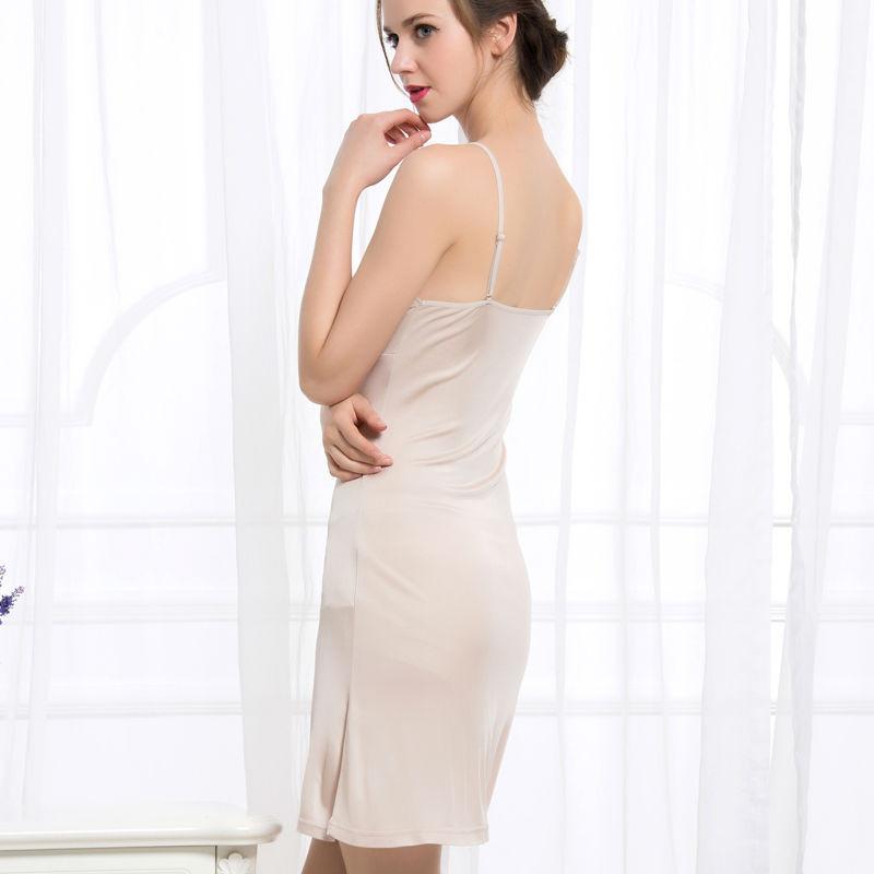 Women-Full-Slips-REAL-SILK-Sexy-slip-Solid-V-deep-neck-Anti-emptied-Padded-bra-slips (1)