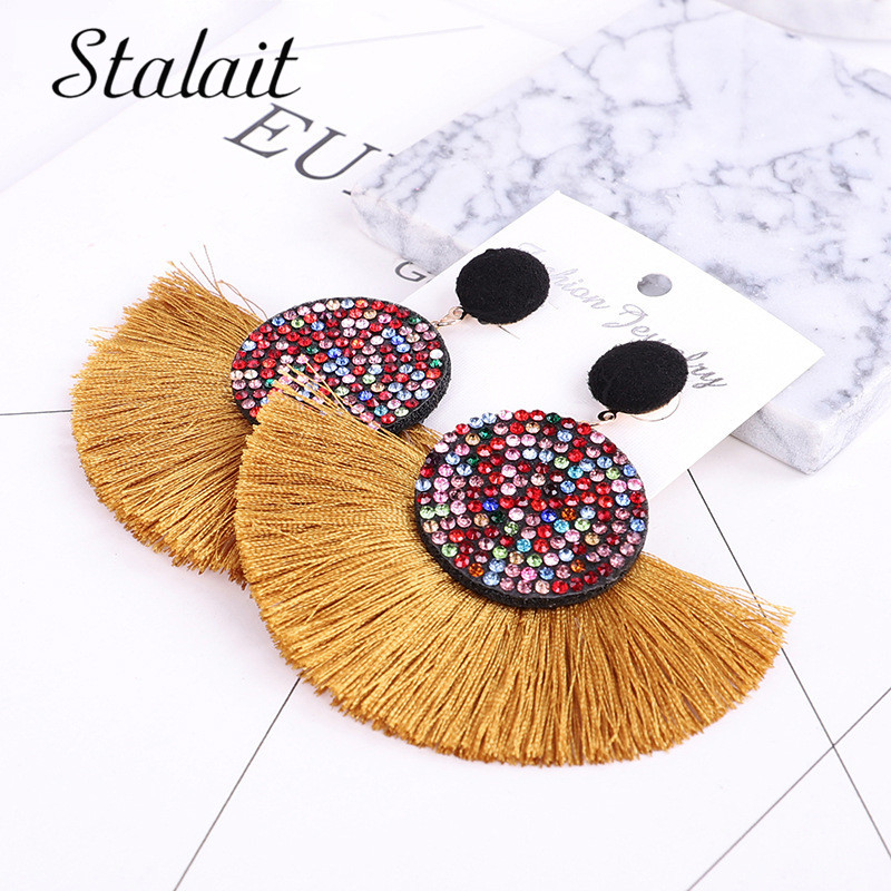 Luxury Brand Sector Colorful Crystal Tassel Earrings Gold Color Round Fringe For Women Wedding Gift