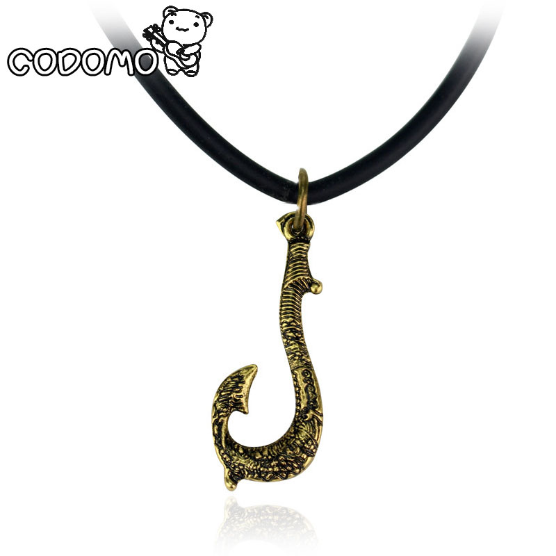 Moana Maui fishing hook Necklace action figure toys 2017 New Maui weapon Hook cosplay model Oyuncak for kids party supply gift new draven shuriken naruto rotatable darts weapon model kids toy christmas gift cosplay props for collection fidget toys gift