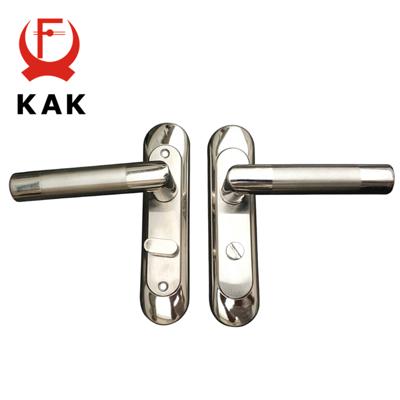 KAK Simple Washroom Door Lock Stailess Steel Interior Door Handle Lock Anti-theft Lock Bathroom Toilet Lock Furniture Hardware цена
