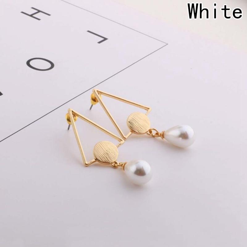 wholesales Fashion Jewelry Bohemia Korean Style 2018 Long Pearl Triangle Earrings For Girl Women Gift beautiful gifts