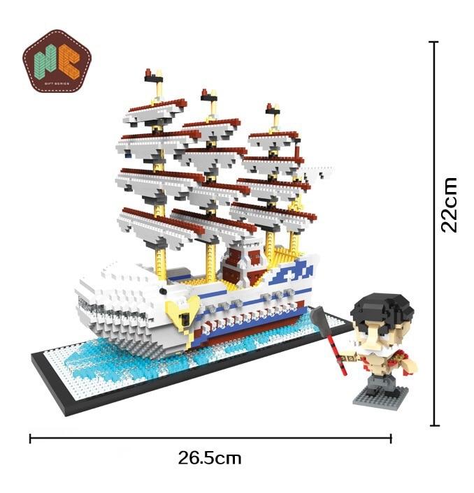 цены HC 9034 2466Pcs One Piece Pirates Ship Cartoon DIY Magic Blocks Diamonds Building Block Toys Children Gifts