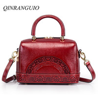 QINRANGUIO Genuine Leather Women Handbags 100% Cow Leather Women Bag with Flowers Large Capacity Crossbody Shoulder Bag Women