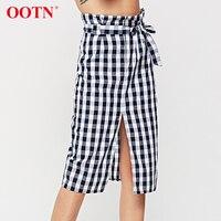 6e0134071e OOTN Plaid Midi Slit Pencil Skirts High Waist Women Blue White Gingham Bow  Tie Long Skirts