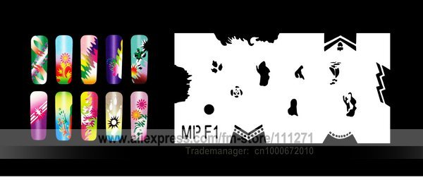 1 set - Nail Airbrush Stencils (MPF) - Nail Stencils / Templates - for Nail Art / Beauty - 32pcs stencils/set - Free Shipping