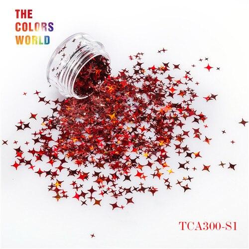 TCT-132, 12 цветов, четыре угла, форма звезд, блестки для ногтей, блестки для украшения ногтей, макияж, боди-арт, сделай сам - Цвет: TCA300-S1   50g