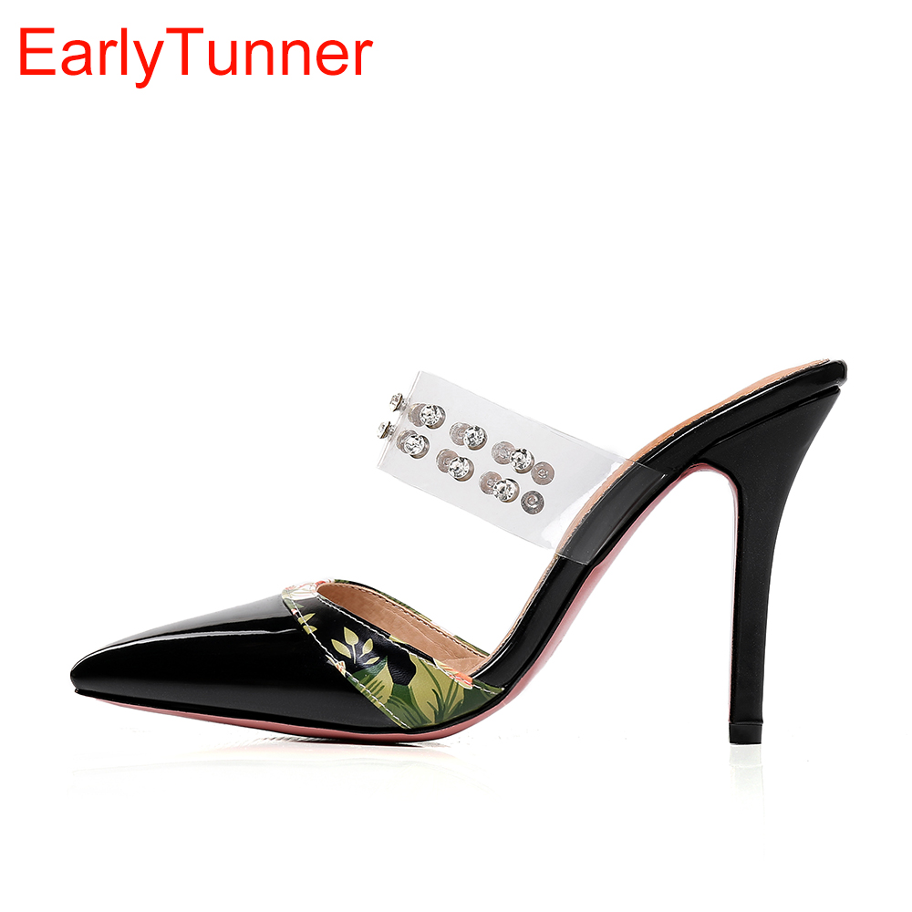 2018 Brand New Summer Hot Sexy Red Purple Women Slipper Gladiator Super high heel Lady Causal Shoes Plus Big Size 10 30 45 47
