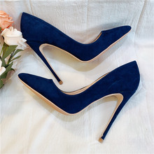 цена на Free shipping fashion women Pumps lady navy sude real leather Pointy toe high heels shoes 12cm 10cm 8cm bride wedding shoes