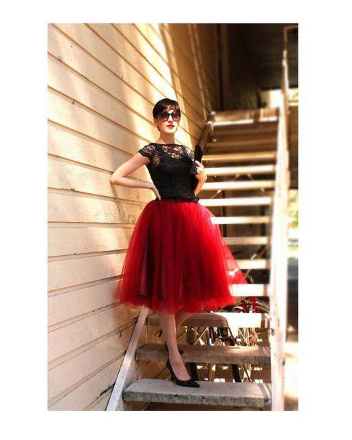 716f572874 Free Shipping New Fashion Red Tulle Skirt Midi Skirt Wedding Party Women  Skirt Sexy trendy falda