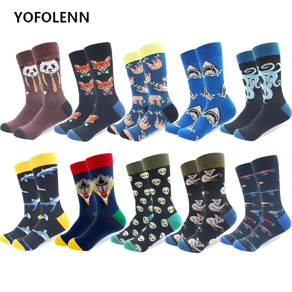 5 Pairs/lot Mens Funny Colorful Combed Cotton Happy Socks Multi Pattern Amimal Stripe Cartoon Dot Novelty Skateboard Art