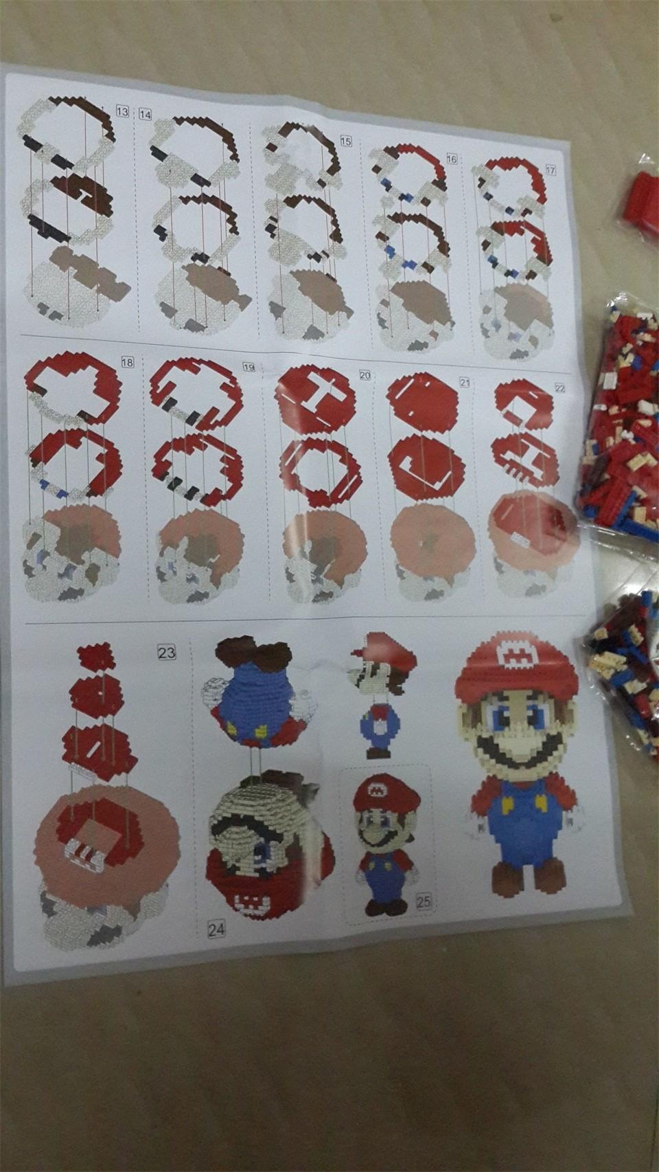 Big size Super Mario and 28 Cartoon characters Micro Blocks Stitch