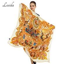 2020 Vintage Big Square Silk Hijabs Ladies Luxury Brand Twill Scarf Shawl Animal Print Yellow Hijabs Wholesale 130*130CM 1331M