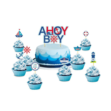 Set of 9 Ahoy Boy Nautical Theme First Birthday Party Baby Cake Toppers Kit Shower Decor Cupcake Topper