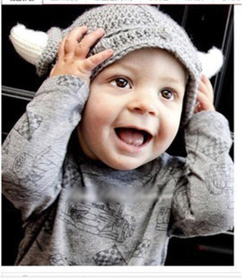Baby Boy Girl Hat with Horns Toddler Knit Viking Beanie Crochet Handmade Cap