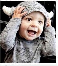 Детские Младенческой Мальчик в Девочке Малышей Вязать Викинг Шлем с Рогами Крючком Шапочка Ручной Работы Крышка