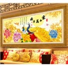 5D Needlework DIY Diamond Embroidery Peony Flower Pictures Mosaic Resin Round Rhinestone Peacock Painting Crystal Pattern