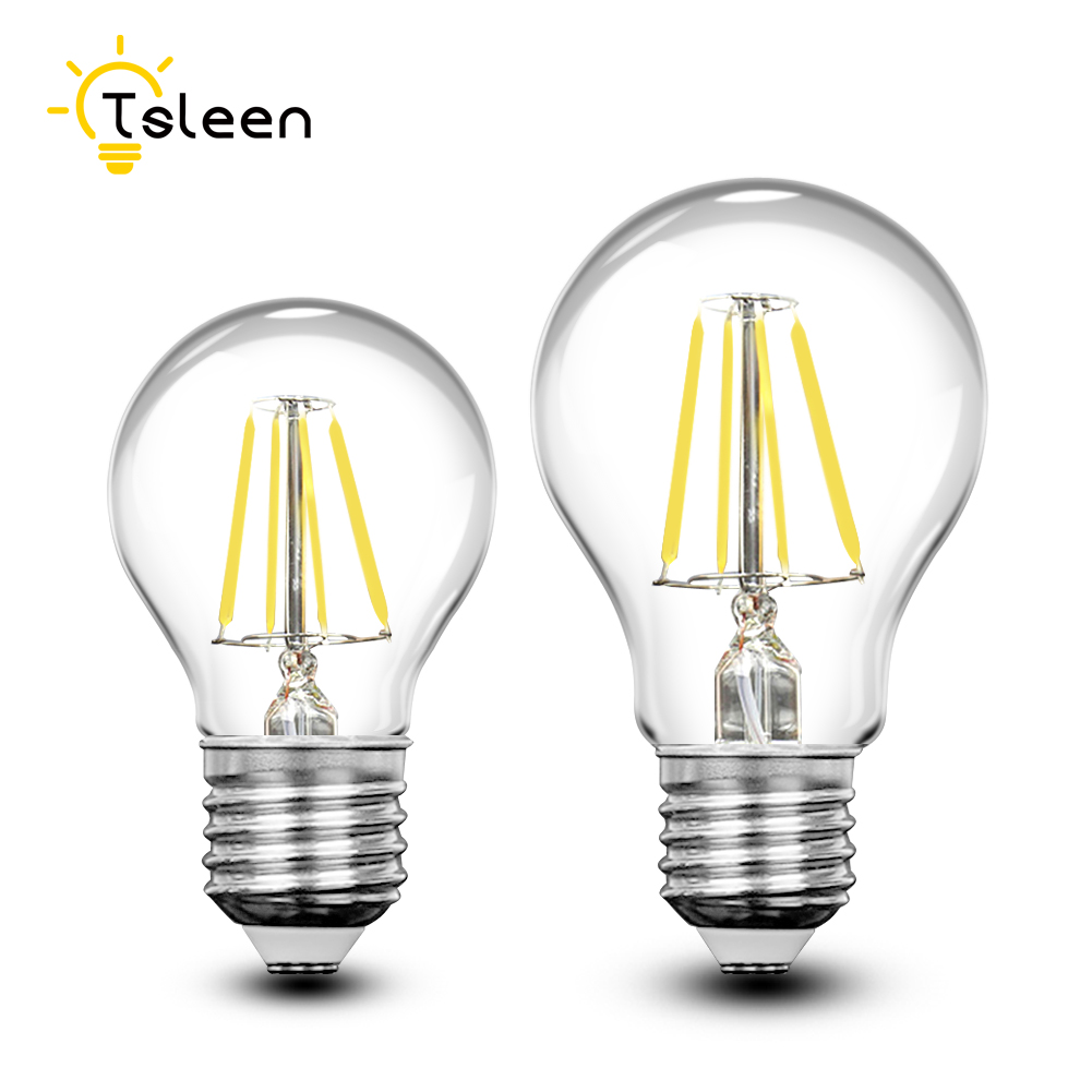 TSLEEN Retro COB LED Filament Light lamp E27 4W 8W 12W 16W 110V / 220V G45 A60 Clear Glass shell vintage edison led bulb стоимость