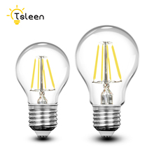 TSLEEN Retro COB LED Filament Light lamp E27 4W 8W 12W 16W 110V / 220V G45 A60 Clear Glass shell vintage edison led bulb цена