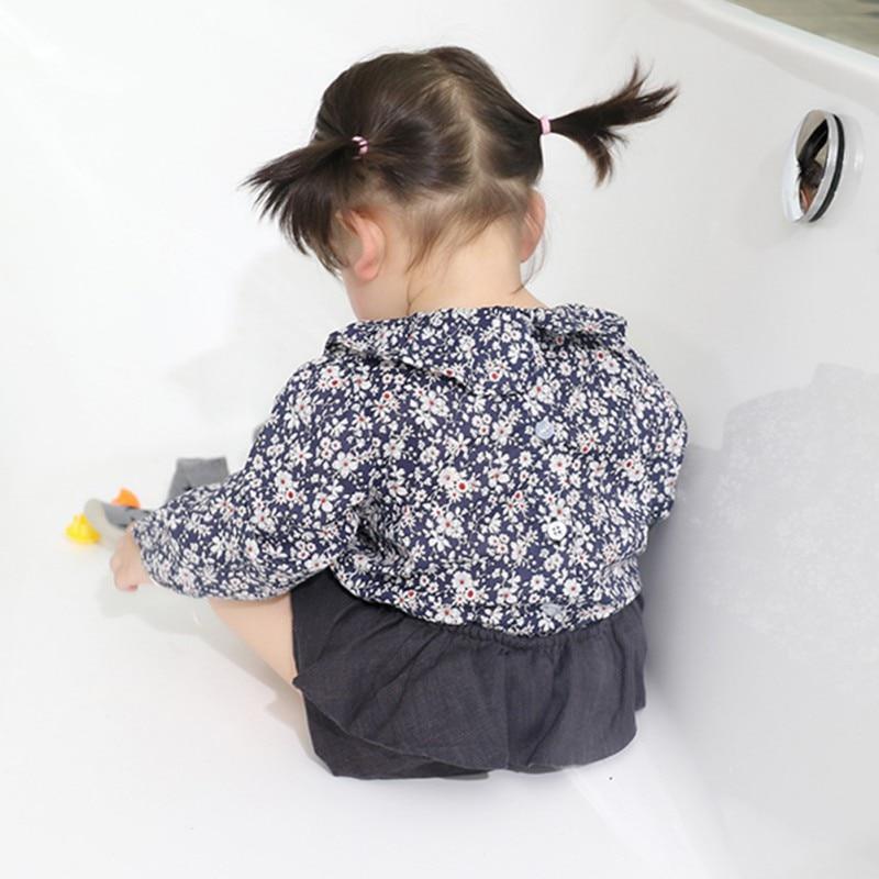 Mädchen Bluse Baby Mädchen Solide Tops Blume Kragen Puff Sleeve Bluse Baby Mädchen Kleidung Neue