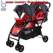 Детская сдвоенная прогулочная коляска может сидеть лежать легко складывается портативный двойной parm sister brother коляска
